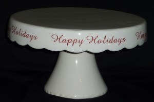 White Holiday Cake Stand 10""